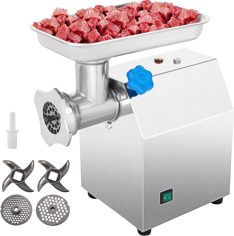 VEVOR Máquina Picadora de Carne del Acero Inoxidable 75 kg por Hora Picadora de Carne Eléctrica Embutidora de Salchichas