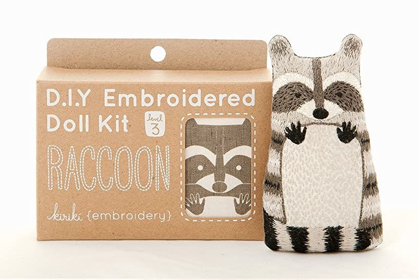 DIY Embroidered Doll Kit (Raccoon - Level 3)