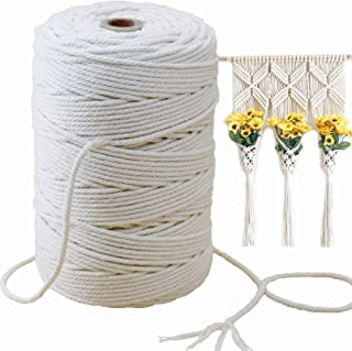 Mygogo Macrame Cord 3mm x 241Yards (About 220m,722feet) Natural Cotton Macrame Rope 4 Strand Twisted Soft Cotton Cord for ...