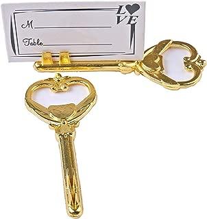 40pcs Multi Function Gold Bottle Opener and Place Card Holder Antique Skeleton Key Heart Shaped Wedding Favor Decoration