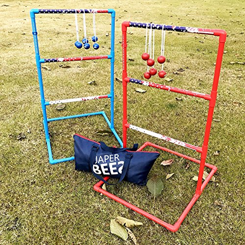 JAPER BEES Strong Ladder Ball Toss for Outdoor Lawn Game with Heavy Duty Pipes and 6 Real Golf Ball Bolas, Fasion Carrying Bag