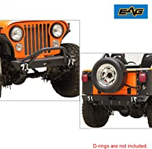 EAG Steel Front Bumper and Rear Bumper Combo Black Offroad Fit for 76-86 Jeep Wrangler CJ