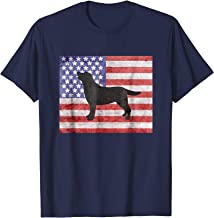 Patriotic Labrador Retriever Outline American Flag Tshirt