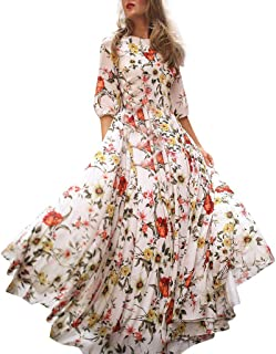 Women Casual Half Sleeve Dresses Swing Floral-Printed Holiday Maxi Dresses