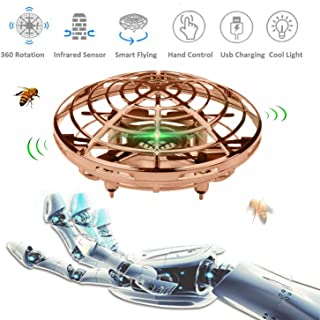 Flying Toys for Kids, Hand Operated Flying Ball Drone with 2 Speeds LED Light UFO Hand Drone for Boys or Girls Toys (Gold)