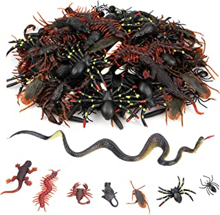 Plastic Realistic Bugs 160pcs Halloween Prank Gag Toys Creep Bugs Fake Cockroaches Snake Spiders Worms Scorpins Gecko Mouse Novelty Trick Joke Toys for Halloween Party Favors&Prop Decorations
