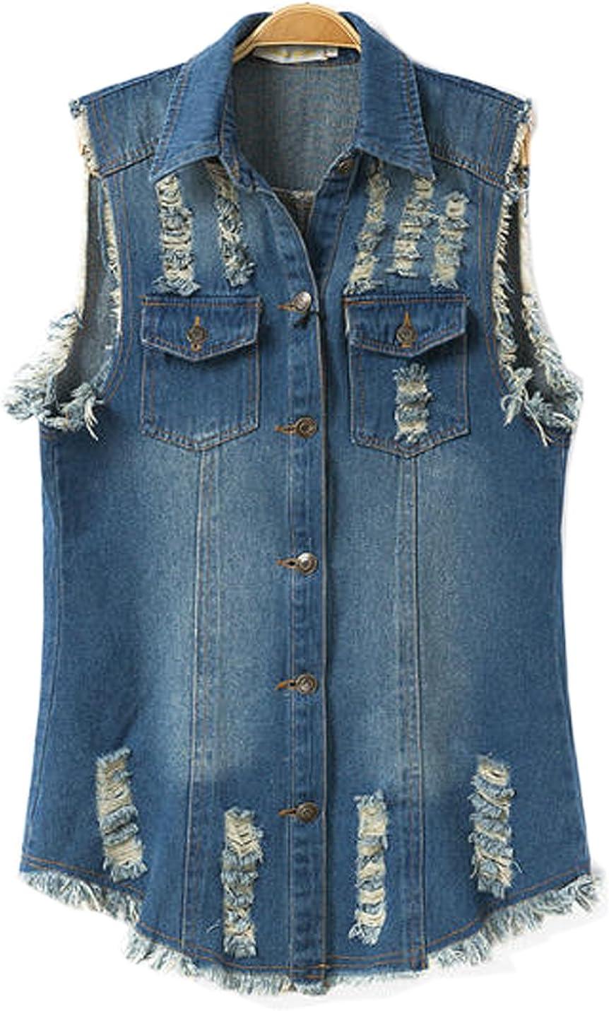 Flygo Women's Lapel Button Up Ripped Mid-Long Denim Jean Vest Waistcoat Jacket
