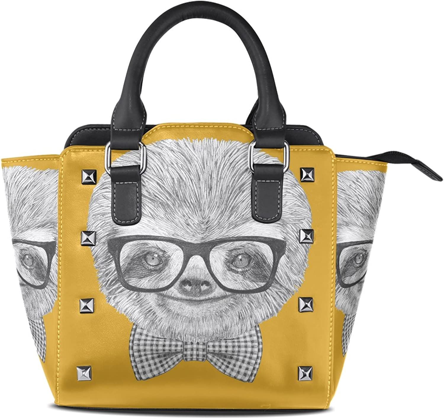 Sunlome Sloth with Glasses and Bow Tie Print Handbags Women's PU Leather Top-Handle Shoulder Bags