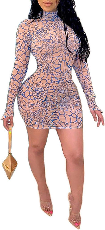 Uni Clau Women's Sexy See Through Drawstring Ruched Slim Dress Sheer Mesh Printed Mini Bodycon Dress Clubwear Party Dresses