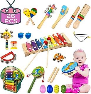 Buself - Instrumentos musicales para niños, 15 tipos de 25 piezas de madera de instrumentos de percusión para niños preescolares, juguetes musicales para niños y niñas con bolsa de almacenamiento