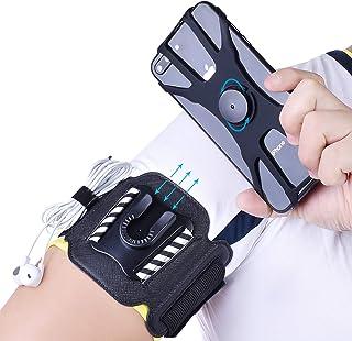 comprar comparacion MIJOBS Brazalete Deportivo, Brazalete para el Antebrazo Transpirable con 360° Rotación y Bolsillito de Llaves para iPhone ...