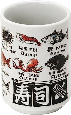 美濃焼 寿司湯呑 魚英語 552-13-47E