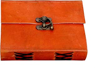 SKYLAND Leather Journal Notebook Book of Shadows Antique Handmade Handbook Blank Unlined Paper Office Diary College Book Poetry Book Sketch Book 6 x 4 Inches 6 x 4 Inches orange