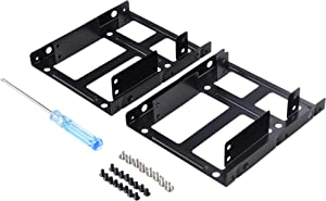 SNANSHI SSD Mounting Bracket 2 Pack, Dual SSD Bracket 2.5 to 3.5 Adapter SSD HDD Metal Mounting Bracket Adapter Hard Drive Holder for PC SSD