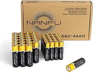 NANFU Premium Alkaline AA + AAA Battery (48 Combo Pack), LR03 1.5v Leak Proof Long Lasting 24 Double AA Batteries+24 Tripl...