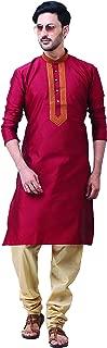 Silk Blend Brown Kurta Pyjama with Embroidary for Men
