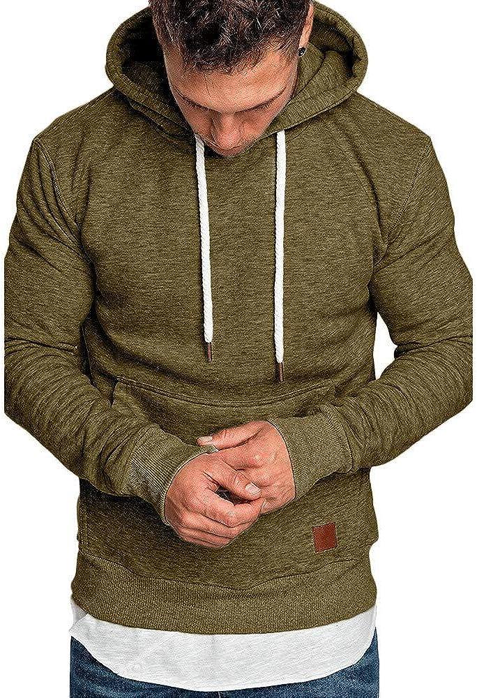 iQKA Men's Oversized Long Sleeve Casual Sweatshirt Hoodies Pullover Top Blouse Tracksuits