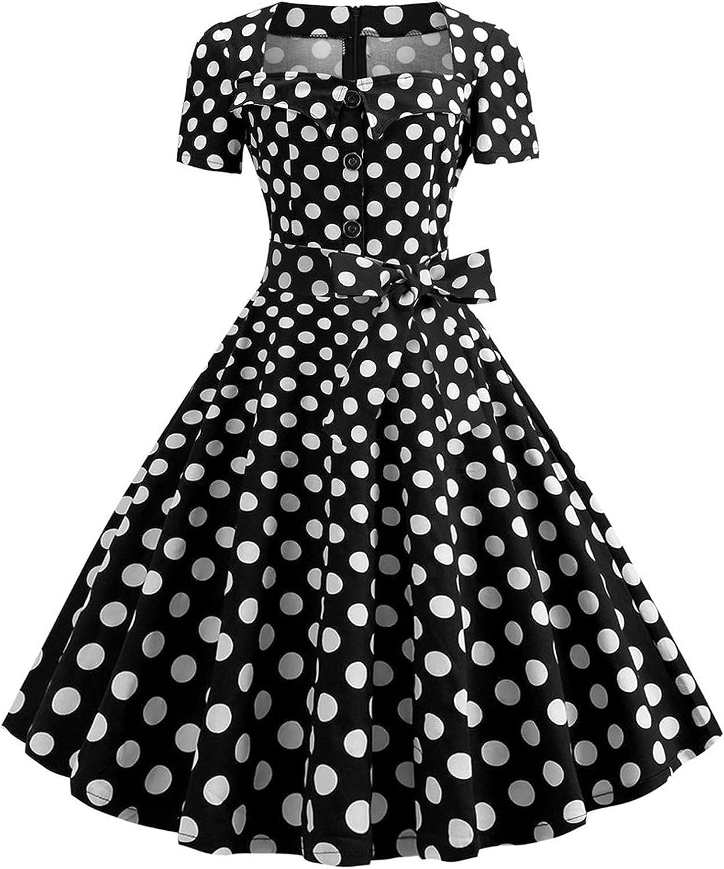 Womens Dresses Vintage Dress Bowknot Prom Swing Short Sleeve Polka Dot Printing Party Prom A Line Dress