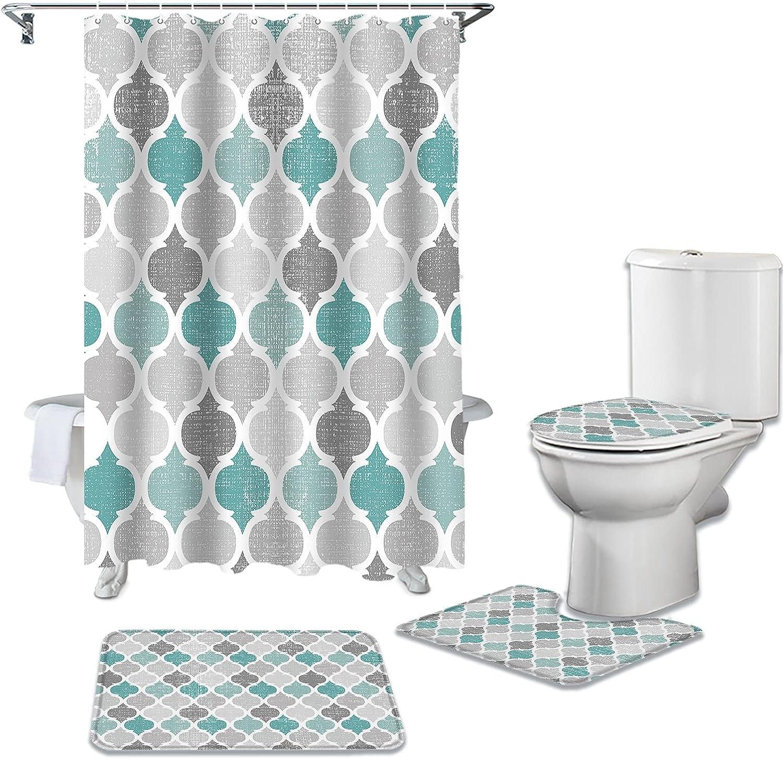 Turquoise Grey 2021 model Geometric Moroccan Super Special SALE held Retro Li Shower Curtain Toilet