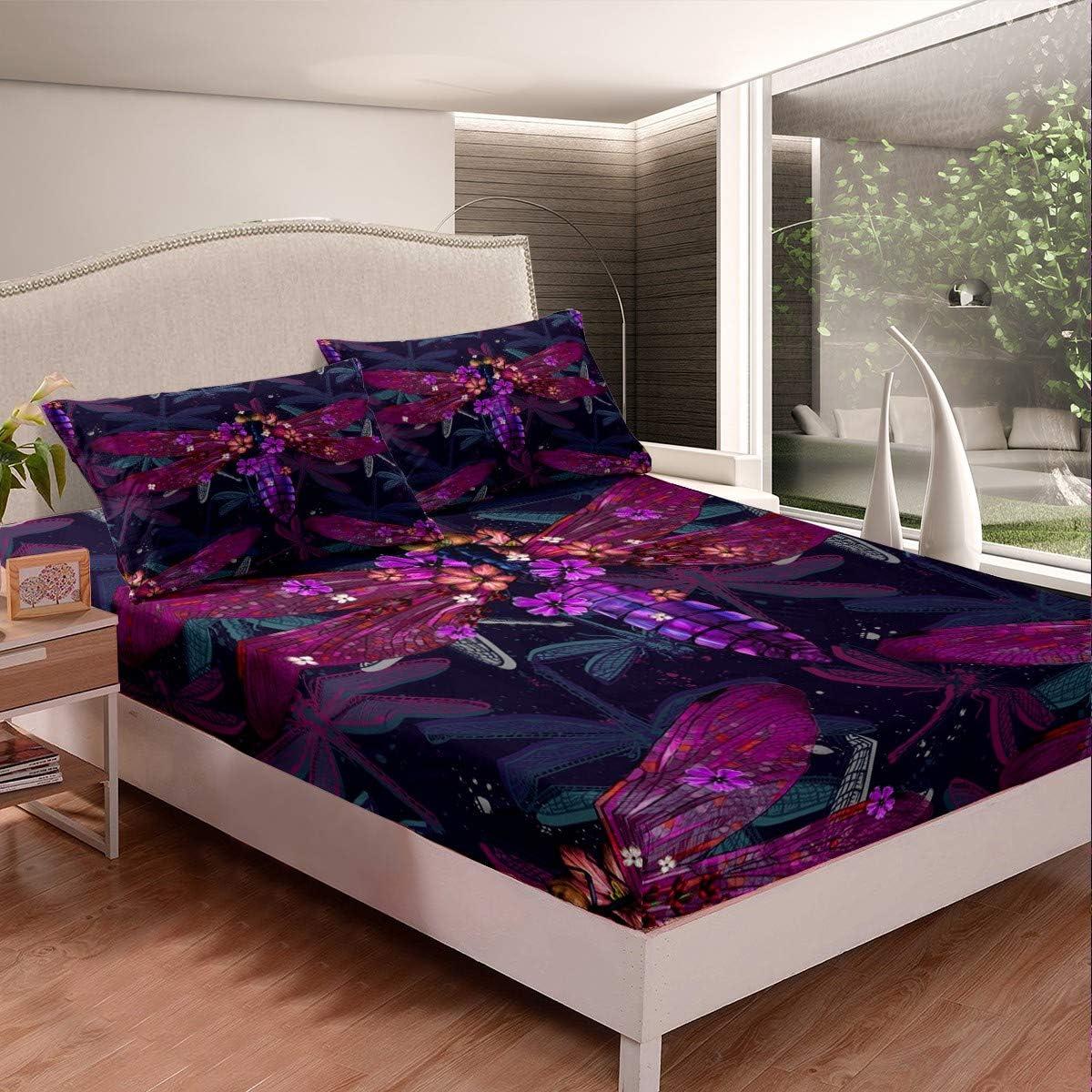 Erosebridal Purple Dragonfly Bedding Wholesale Set Animals Moth Arlington Mall Bed Cover