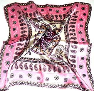 Paisley Pink 100% Charmeuse Silk Scarf Bandana Headband By Silksalon A996
