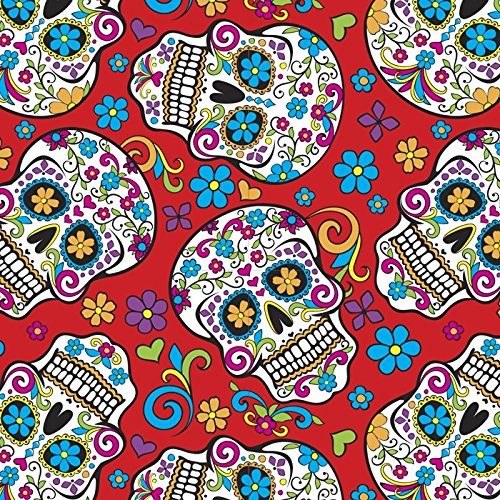 Sugar Skulls Red Cotton Fabric by The Yard