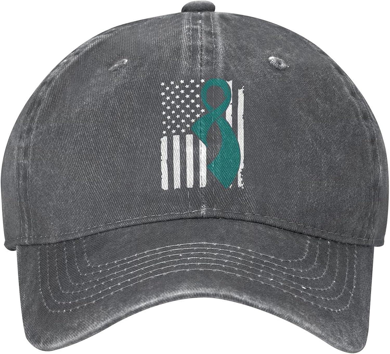 KOUSHANAIER Ovarian Cancer Awareness Flag Unisex Cowboy Hat Baseball Caps Adjustable Outdoor Sports Golf Denim Cap Black