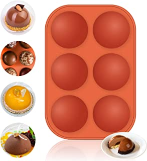 6 Holes Chocolate Bomb Mold, Semi Sphere Silicone Mold for Making Hot Chocolate Bomb, Cake, Jelly, Pudding, Dome Mousse, B...