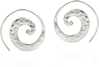 Unique Hammered Spiral Pierce Hoop Thai Hill Tribe .925 Sterling Silver Earrings