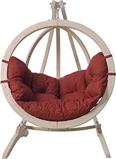 Byer of Maine Globo Kids Chair, Treated Wood Construction, Indoors and Outdoors, Natural Spruce Wood, Agora Outdoor Fabric Cushion, Single Person, Terracotta, 37