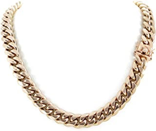 Men's Miami Cuban Link Chain 14k 18k Yellow Gold White Or Rose Gold Plated Stainless Steel 8-18mm Thick