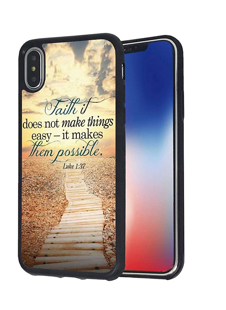 iPhone X Case,BWOOLL Christian Quote Bible Verse Luke 1:37 Faith it Does Not Make Things Easy - it Makes Them Possible Design Slim Anti-Scratch Shockproof TPU Rubber Protective Cover for iPhone X