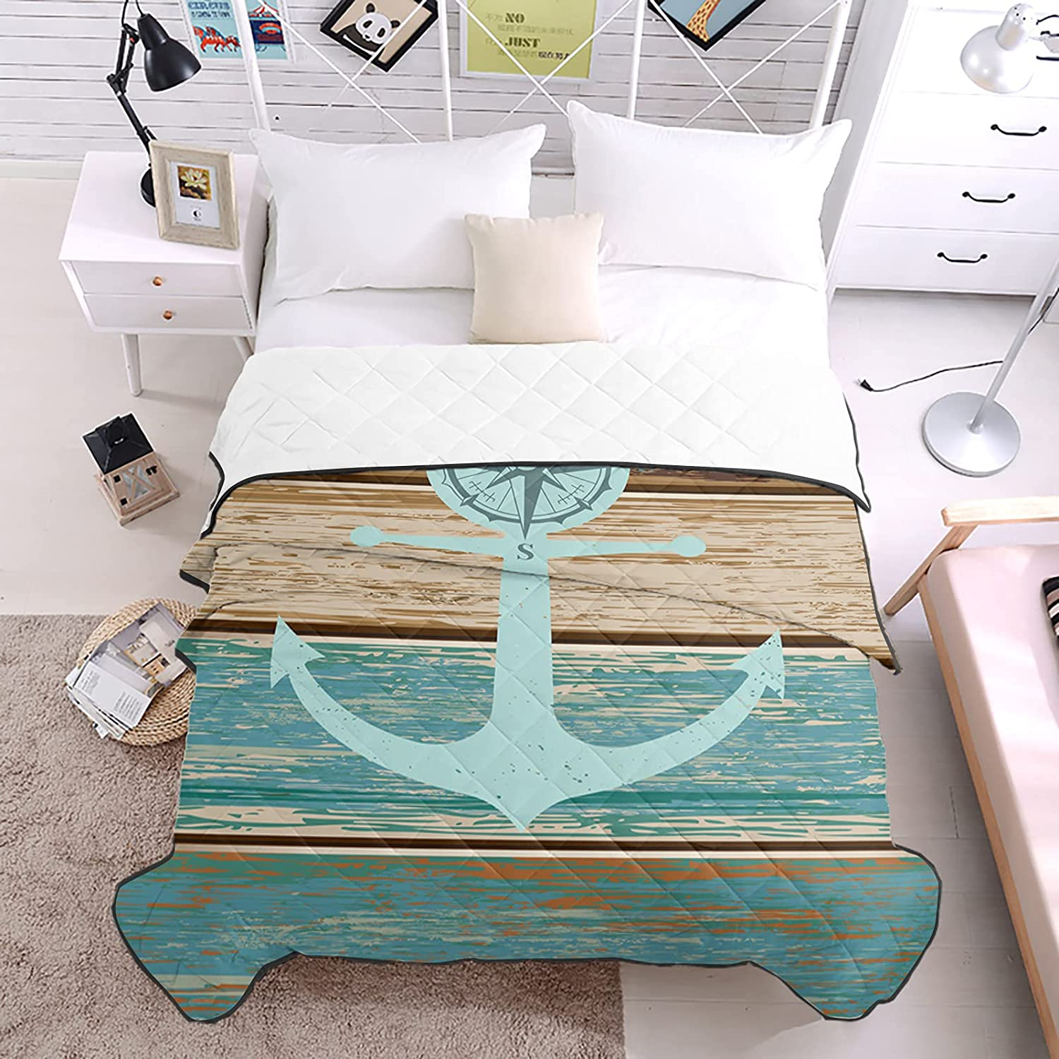 DecorLovee Max 76% Don't miss the campaign OFF Bedding Duvets Ocean Anchor Plank Blue Compass Retro