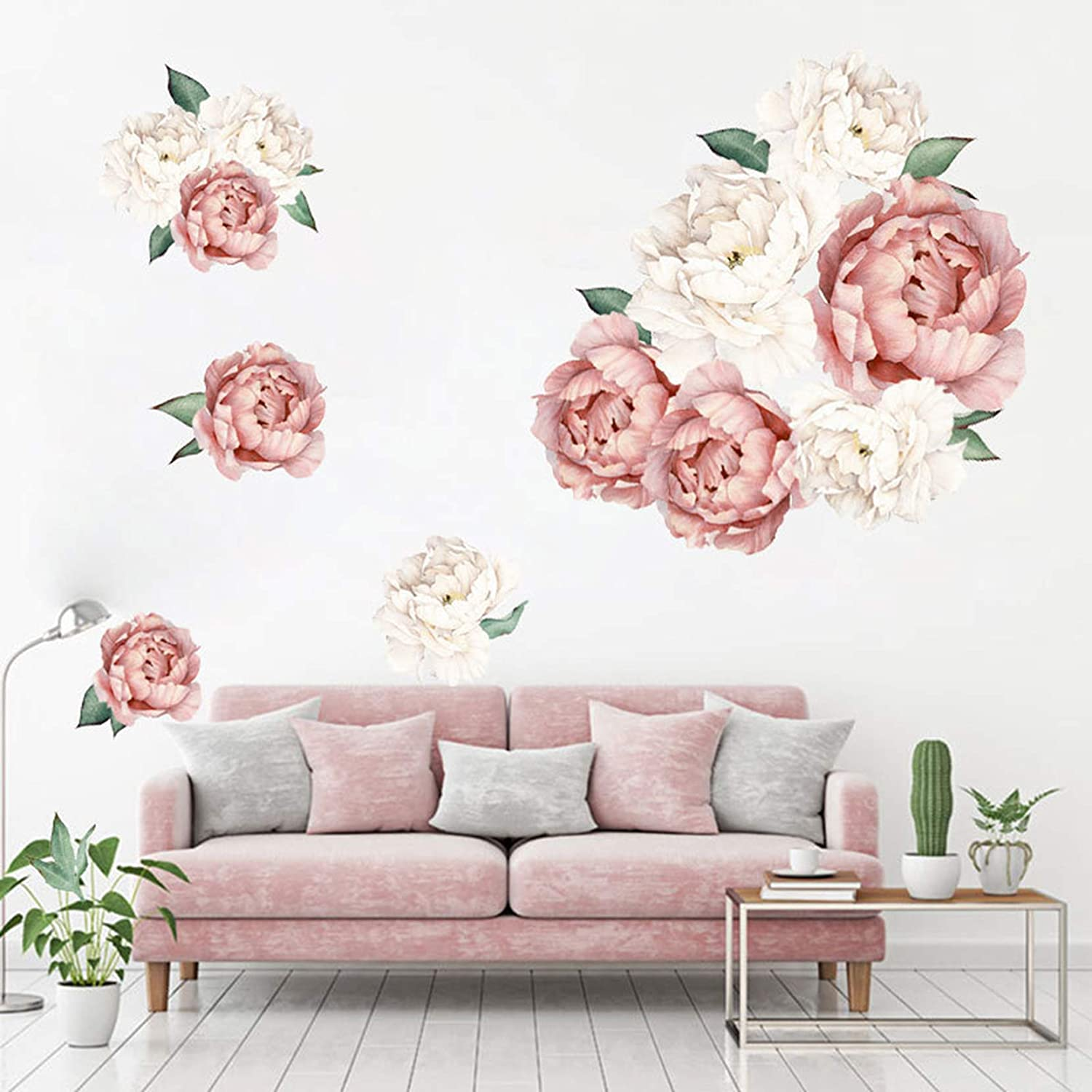 MOLANCIA Floral Wall Decals, Peony Flowers Wall Stickers, Peony Rose Wall Posters, Peony Art Murals, Garden Blossom Flowers Removable Wallpaper for Living Room Girls Room Kitchen Bedroom (Pink 3)