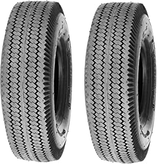 Deli Tire Set of 2 Tires, 4.10/3.50-6 Tubeless 4 Ply Rated Sawtooth Rib Lawn Garden Tires