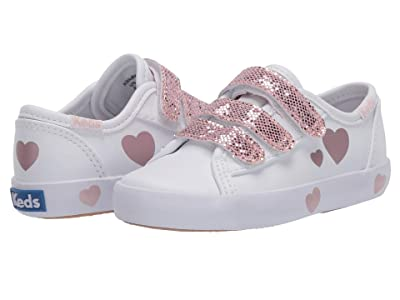 Keds Kids Kickstart 3V (Toddler) (White/Pink) Girl