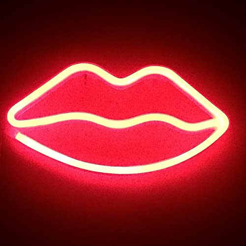 Lip Neon Signs LED Decor Night Light Wall Decor for Christmas Decoration Birthday Party Home LED Decorative Lights Wedding Event Banquet Party Decor, Battery and USB Power(Red)