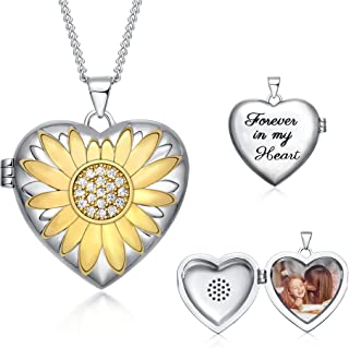 TRENSYGO You Are My Sunshine Sunflower Heart Locket Necklace That Hold 2 Pictures Jewelry for Women and Girls for Mother's...