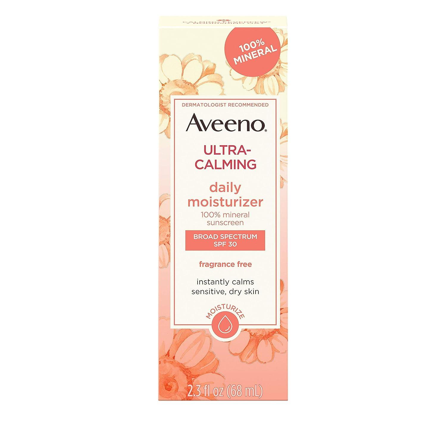 類人猿王位包括的アビーノ ウルトラカーミング デイリーモイスチャライザー無香料 敏感肌用 SPF30 0.25オンス Aveeno Ultra-Calming Daily Fragrance-Free Moisturizer - Sensitive Skin - SPF 30-2.5 fl oz