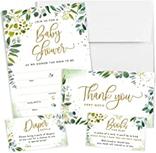 Printperie 25 Greenery Baby Shower Invitation Set with Envelopes - Gender Neutral Blank Fill-in Invites for Boy or Girl - ...