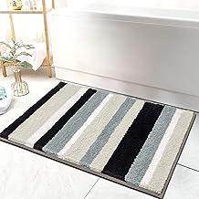 "HEBE Microfiber Bath Rugs for Bathroom Non-Slip Bathroom Rug Shag Shower Mat Machine-Washable Kitchen Floor Mat(20""x32"", B..."
