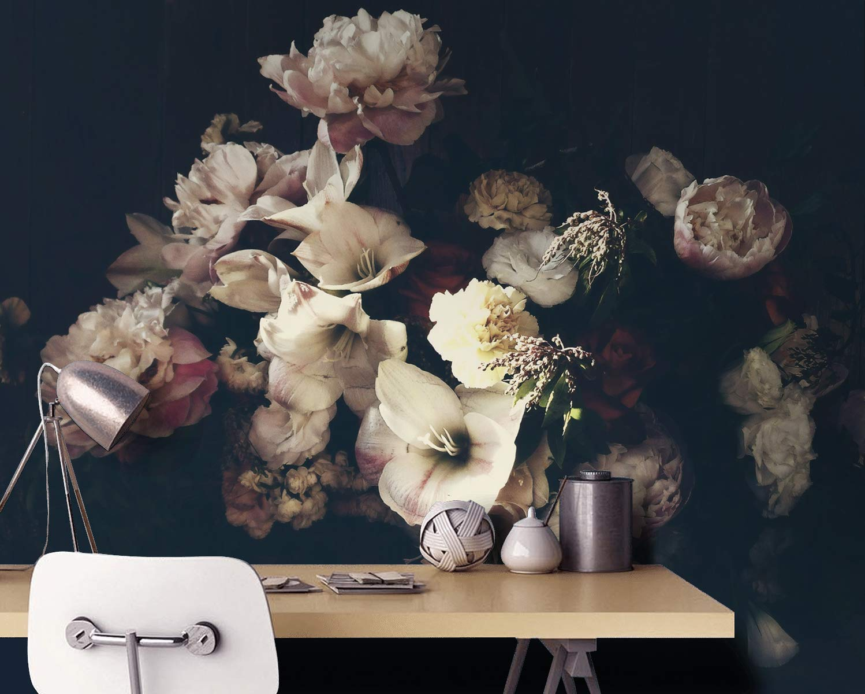 Murwall Dark Floral Wallpaper Peony ...