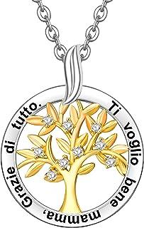 ENGSWA Collana Personalizzabile Donna Incisione Argento 925 Ciondolo Albero Genealogico della Vita Regalo Mamma Madre Mogl...