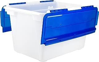 Storex 12 Gallon Flip Top Tote, 22.5 x 15.25 x 13 Inches, Blue (STX00901U01C)
