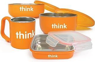 [自营]美国进口-Thinkbaby 辛克宝贝 不锈钢儿童餐具4件套(?#36141;?汤碗,餐碗,水杯)橙色