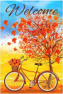 Morigins Welcome Autumn Bicycle Decorative Red Fall Leaves House Flag Double Sided Outdoor Yard Flag 28 x 40 Inch