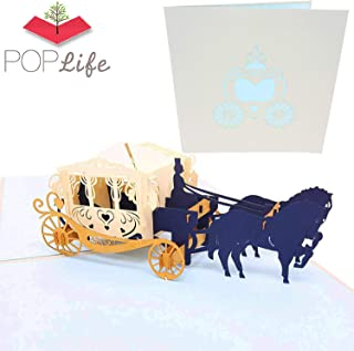 PopLife Fairy Tale Carriage 3D Pop Up Greeting Card for All Occasions - Princess Theme, Glass Slipper, Royal Storybook - Folds Flat for Mailing - Birthday Parties, Thank You, Anniversary, Engagement