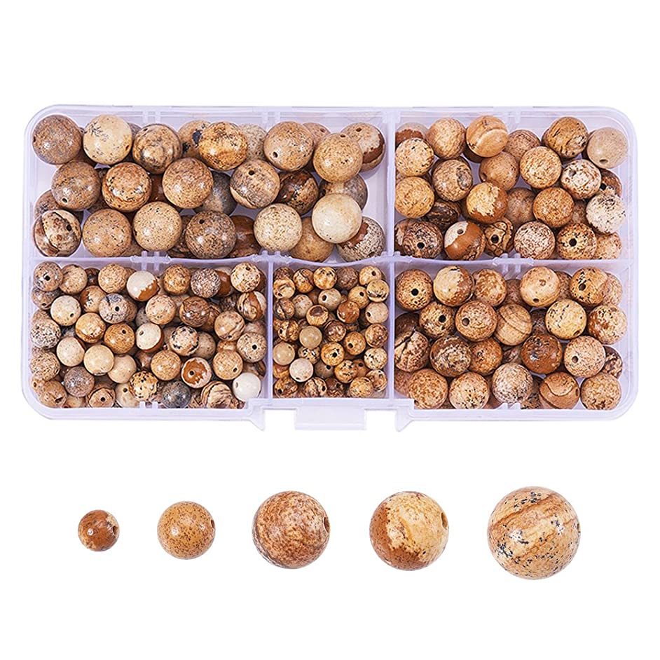 PH PandaHall 316 Pcs Tumbled Picture Jasper Sandstone Brown Gemstone Round Beads 4mm 6mm 8mm 10mm Mix Lot Box Set with Box Container