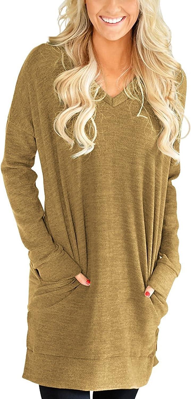 LERUCCI Womens Casual Long Sleeves Solid VNeck Tunics Shirt Dress with Pockets Khaki XLarge