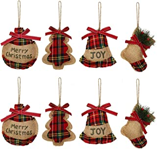 YOSICHY Christmas Tree Ornaments Stocking Decorations Burlap Christmas Stocking Ball Tree Bell with Red and Green Tartan f...